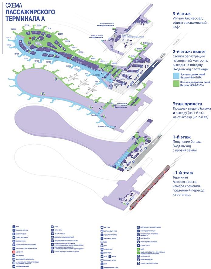 Схема терминала А аэропорта Внуково Москва